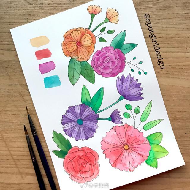 可爱花朵 手账简笔画 儿童画素材