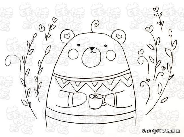 零基础也可以画的可爱小熊简笔画,画在手账本或手抄报上吧
