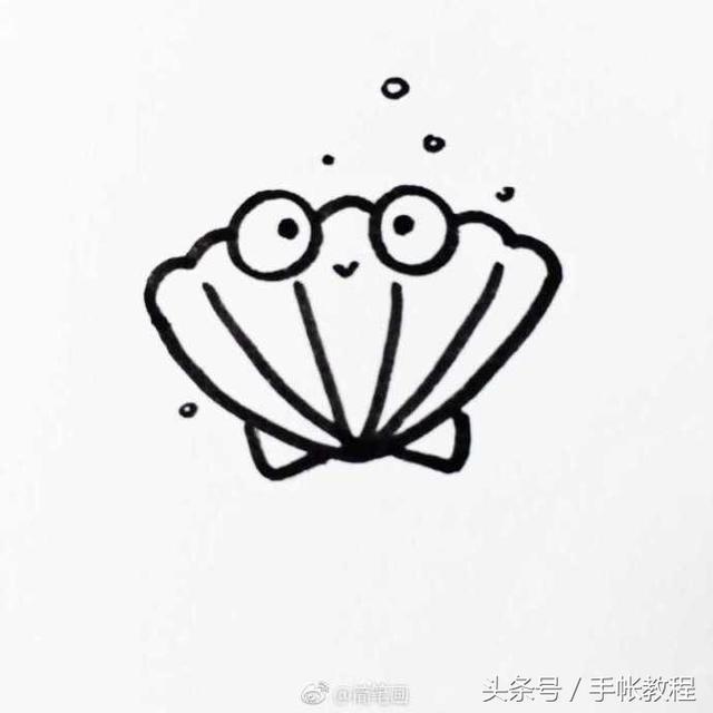 来一波萌萌的海洋生物简笔画吧,手绘手帐