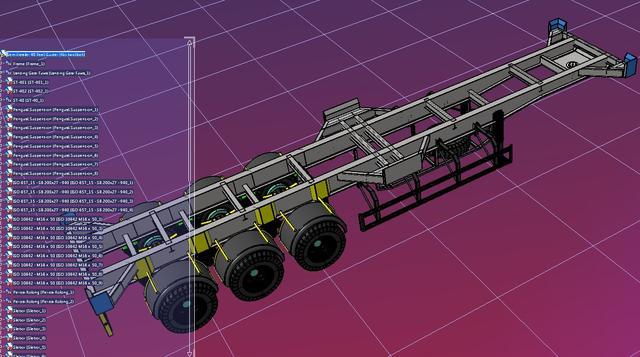 40英尺集装箱格式牵引车3D数模图纸STP图纸天剑鬼货柜图片