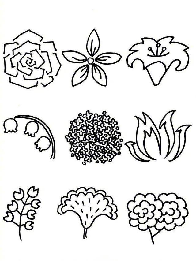花朵简笔画手账素材,超级实用的素材 建议收藏