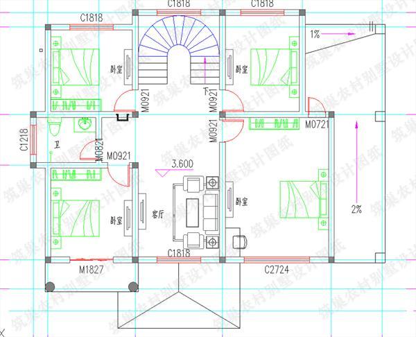 新出14×11米30万2厅6卧带农村二层套间别墅商业改卧室图片