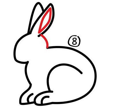 幼儿简笔画步骤图 兔子详细画法 9