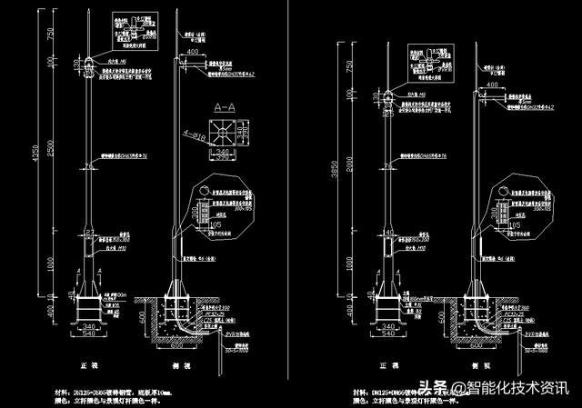 淘到一个完美比例的v比例立杆大样图,CAD画法cad建筑平面图缩小图纸图片