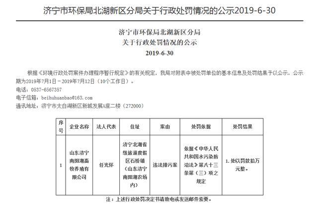 因违法排污,济宁南阳湖畜牧养殖公司被罚10万