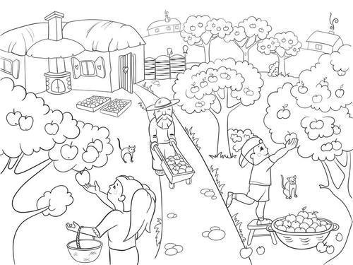 15幅山水田园风光的简笔画,和孩子一起感受乡村自然