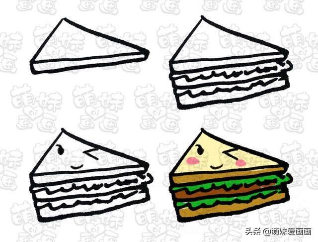 好可爱 各种表情的美食简笔画,好看简单,画在手抄报和手账上吧