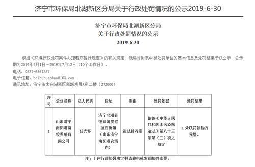 因违法排污 济宁南阳湖畜牧养殖公司被罚10万
