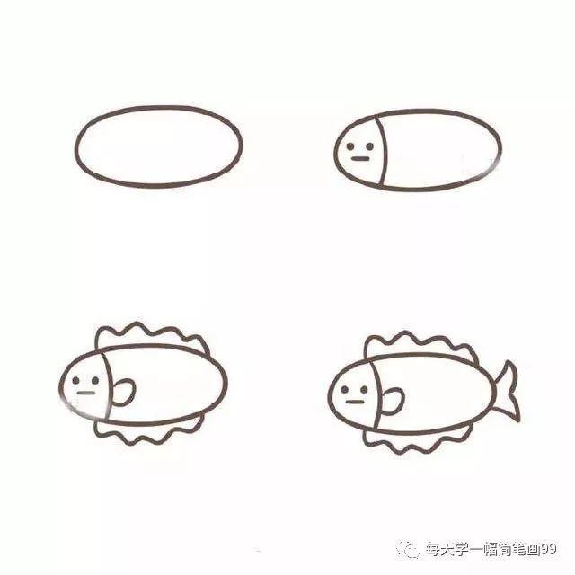 各种各样的小鱼画法简笔画 海洋动物 千千简笔画移动版