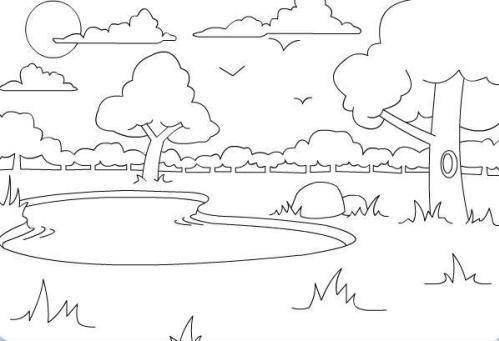 池塘简笔画怎么画 池塘的简单画法 池塘简笔画 亲子简笔画大全