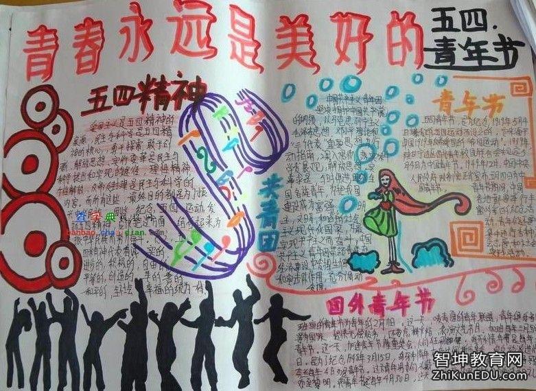 2016年七年级五四青年节主题活动手抄报最新花边设计图资料大全精选