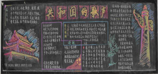 高中生建国庆祝67周年黑板报中学_国庆节黑板报资料_高中国庆节黑板报总结年终教师素材范文图片