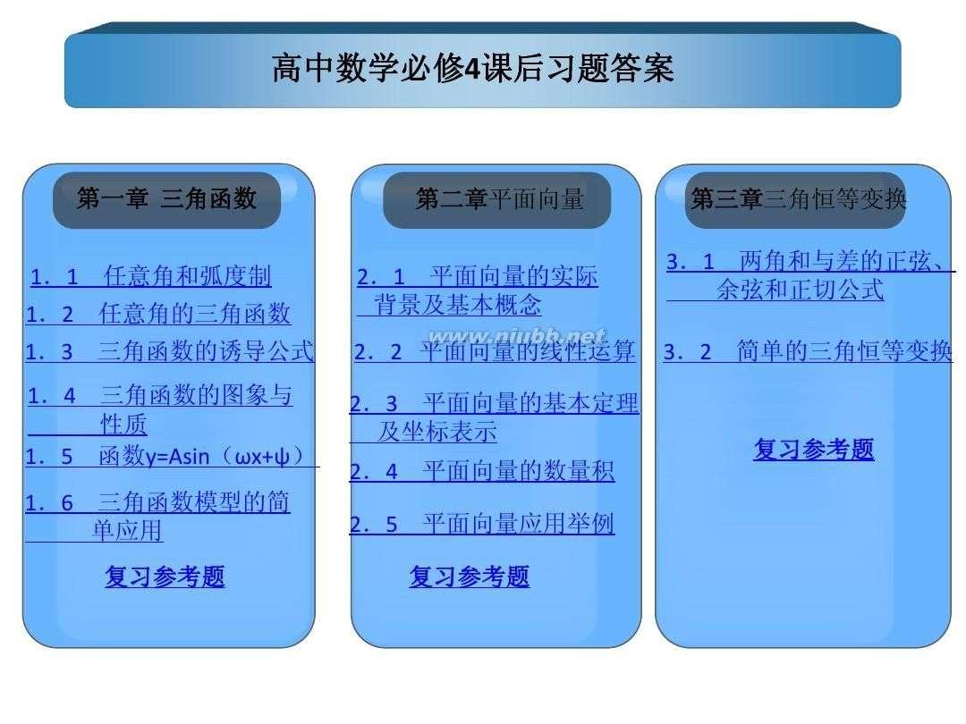 高一数学必修四习题高中必修4课后校长答案皖江怀宁高中数学图片