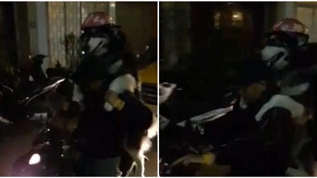 狗狗戴头盔与主人共骑摩托车 开心兴奋【图】