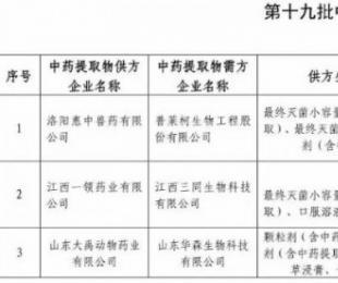 农业部公布第十九批中药提取物兽药集团内部调剂企业目录
