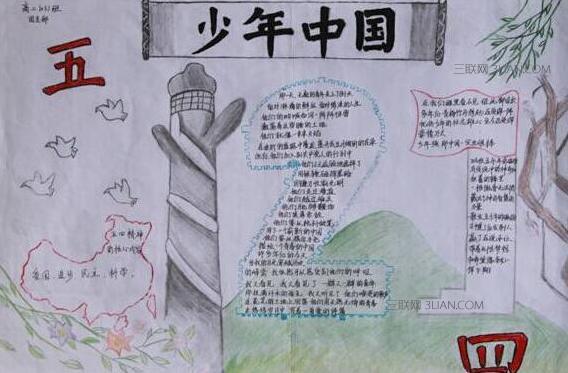 庆五四青年节手抄报