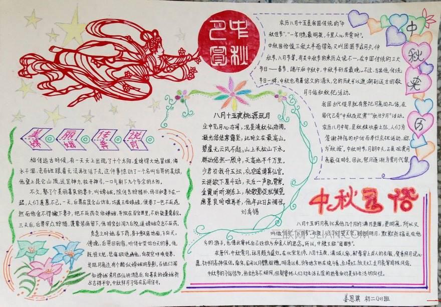 小学生中秋节优秀手抄报设计