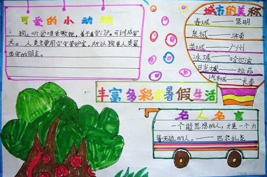 幼儿园快乐的暑假手抄报(简单版)