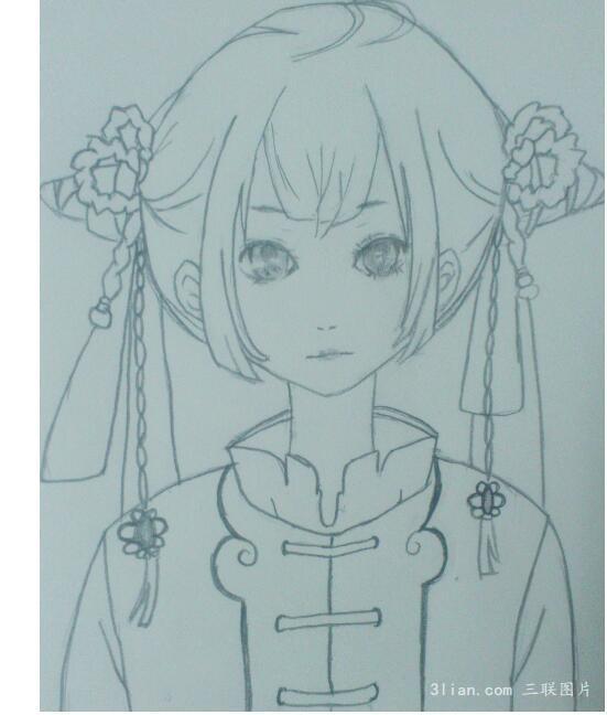 古代动漫女孩简笔画
