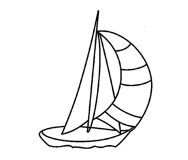 大海帆船简笔画图片