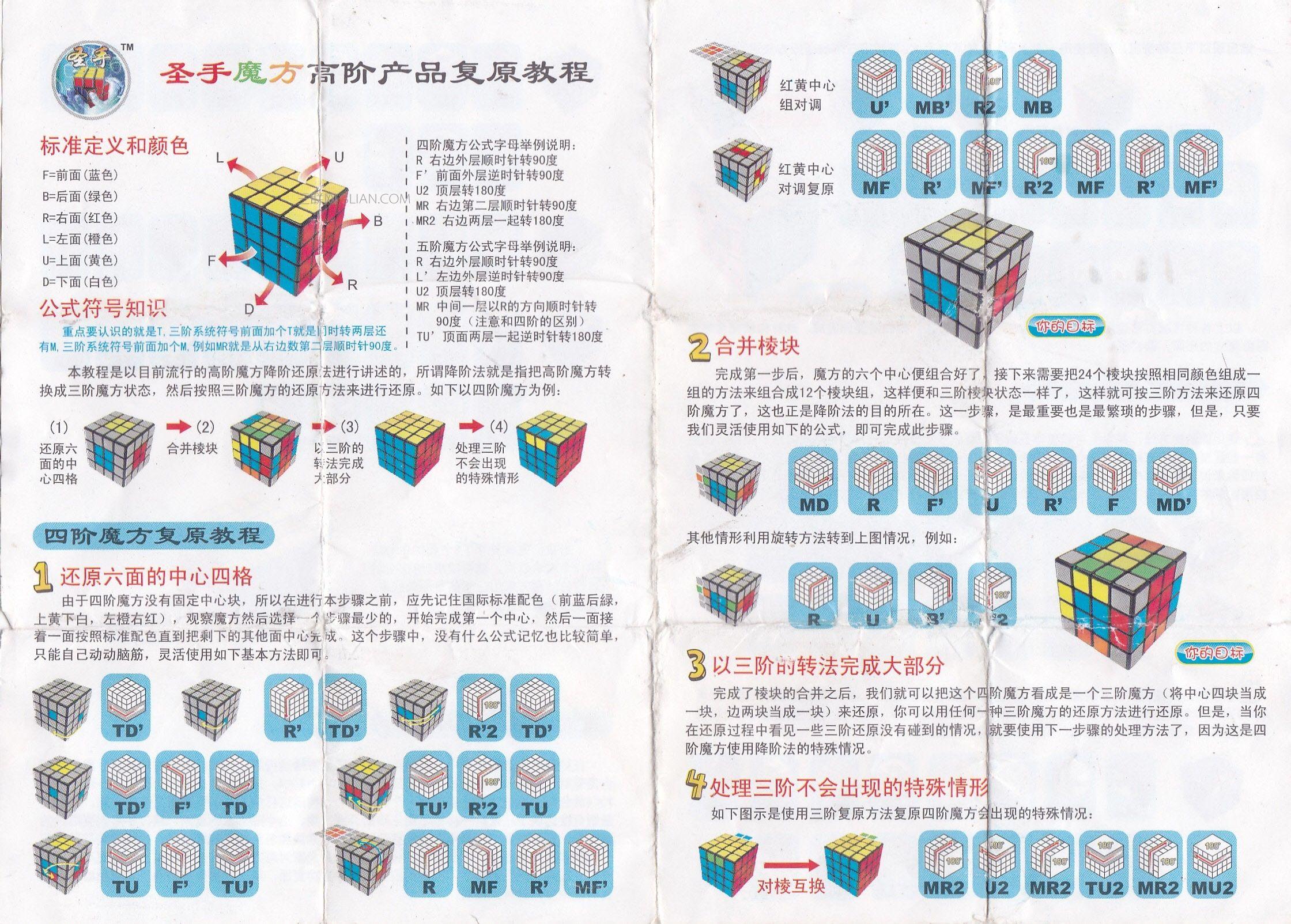 四阶魔方公式图解