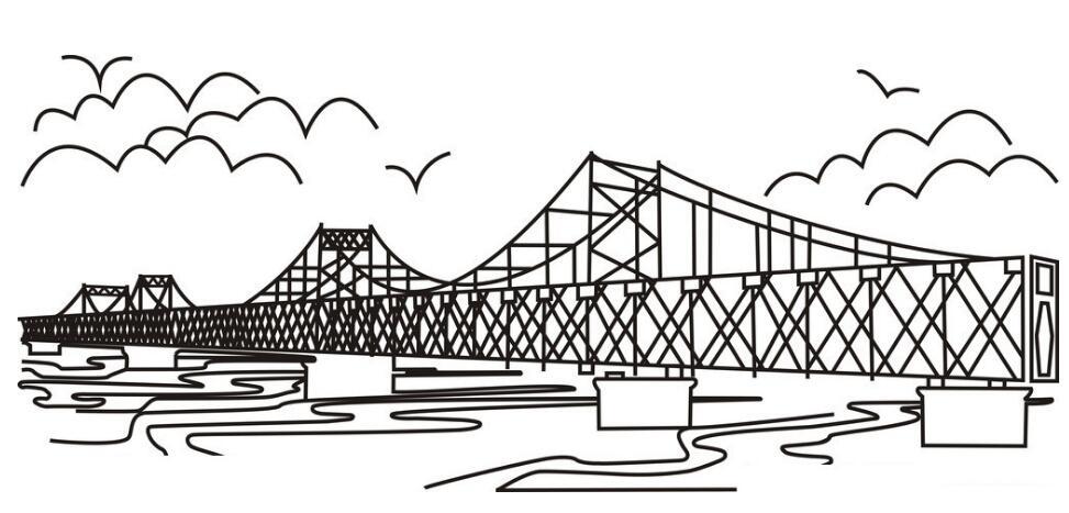 斜拉桥简笔画_儿童简笔画图片斜拉桥_斜拉桥儿童画_拦