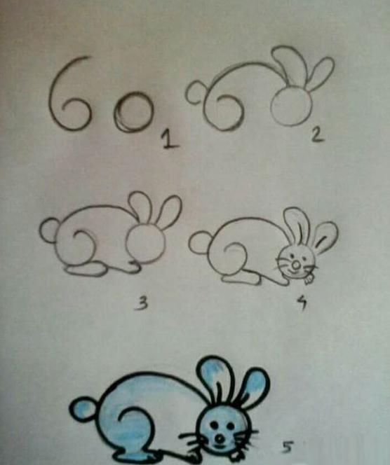 魔术兔子简笔画-玉兔简笔画