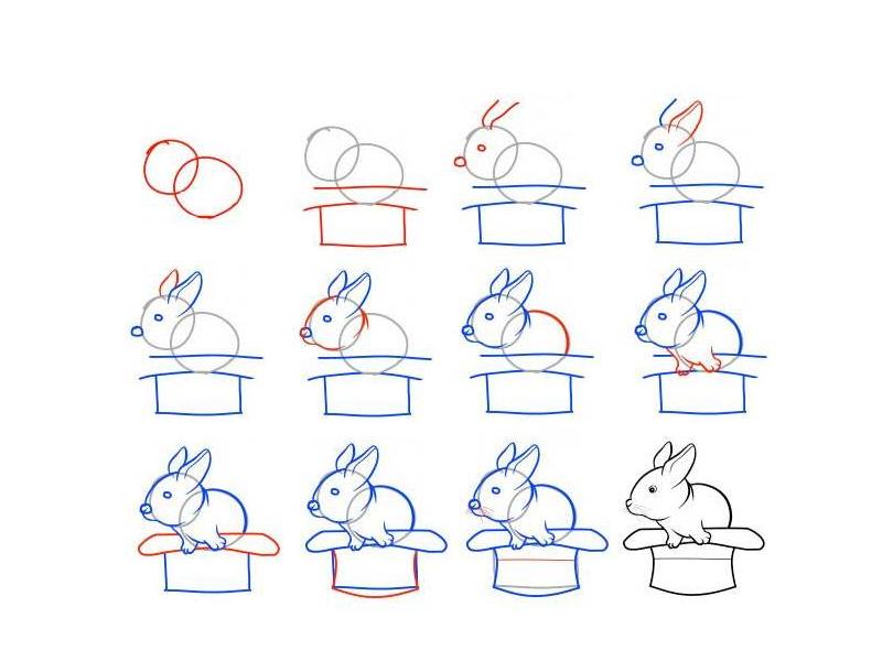 比如玉兔这样的简笔画,简单好画又生动可爱,小朋友们都会喜欢学.