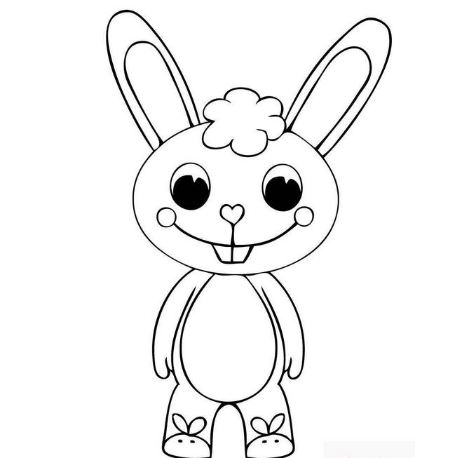 卡通兔子简笔画-玉兔简笔画