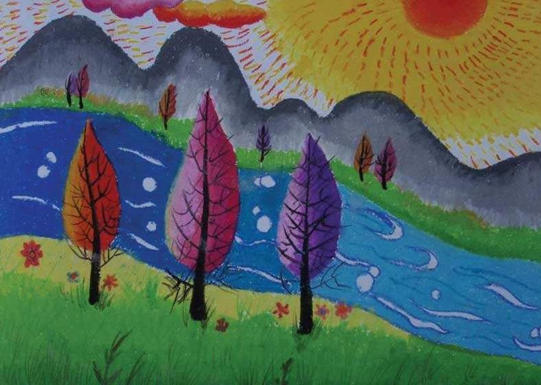 现在很多小朋友都会上画画的课程,因此接触画画的机会就比较多,老师也会让小朋友们画动物或是风景等作品,下面我们来欣赏这些儿童风景画图片,看看都画哪些好看的风景画。  秋天的风景画  春天来了的风景画   果园的风景画  家乡风景画  河边的风景画  小女孩在草地吹泡泡