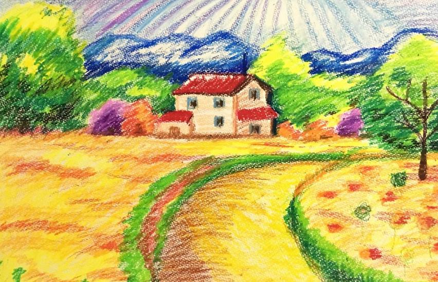 家乡风景画图片