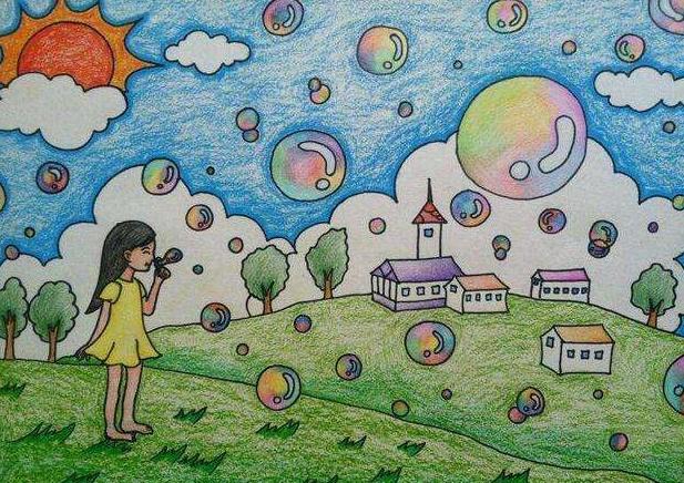 儿童风景画图片
