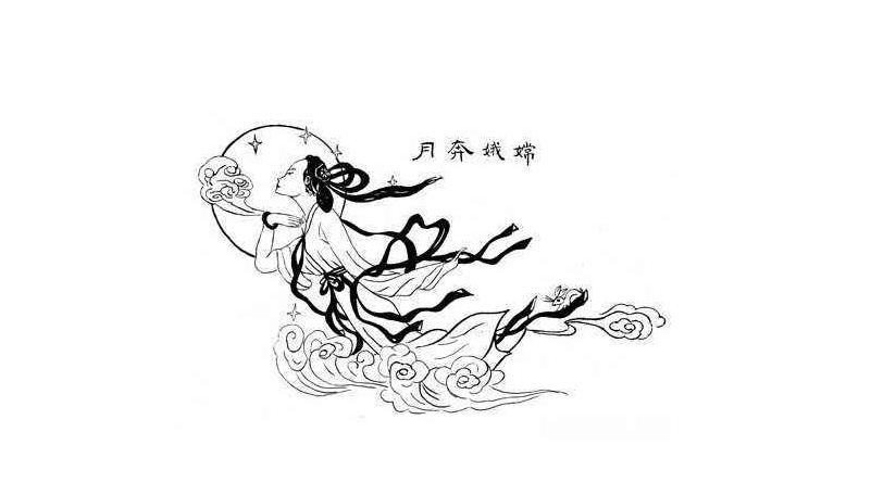 嫦娥奔月简笔画_嫦娥玉兔奔月简笔画_嫦娥奔月素描简
