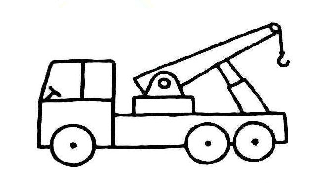 简单的儿童简笔画吊车-大吊车