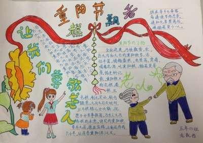 手抄报版面设计图   每年的阴历九月初九是我国一年一度的重阳节