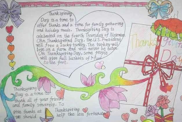 小学生感恩节手抄报主题设计1         小学生关于感恩节主题手抄报