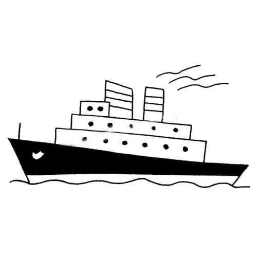 海上行驶的豪华轮船简笔画