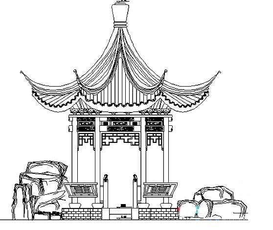 园林建筑亭子的画法简笔画