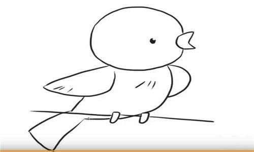 六步画出黄鹂鸟简笔画步骤教程
