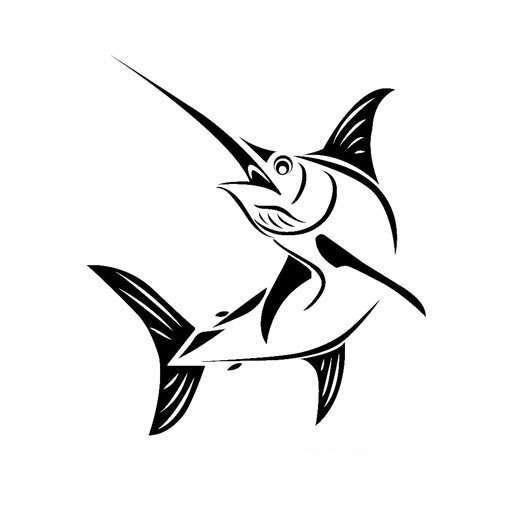 大马林鱼简笔画图片