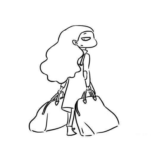 女人手中提着两个购物袋,她身穿连衣裙,长长的大波浪卷的头发披在图片