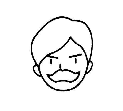 大胡子男人头像简笔画