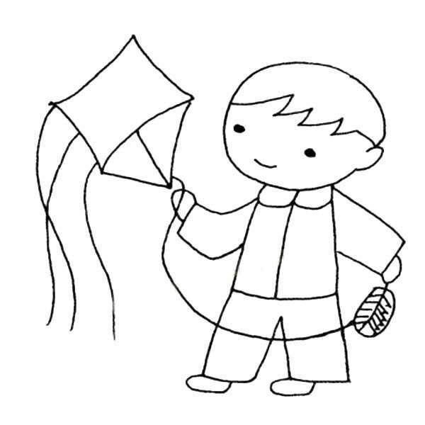 放风筝的小男孩简笔画图片
