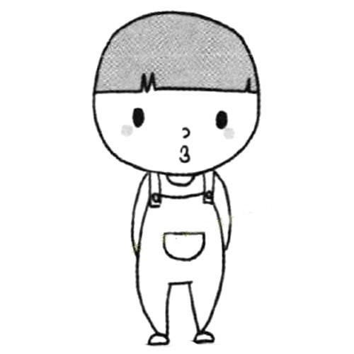 四步画出小男孩的画法简笔画